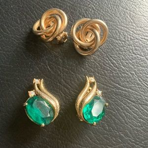 Set of two costume clip on earrings.